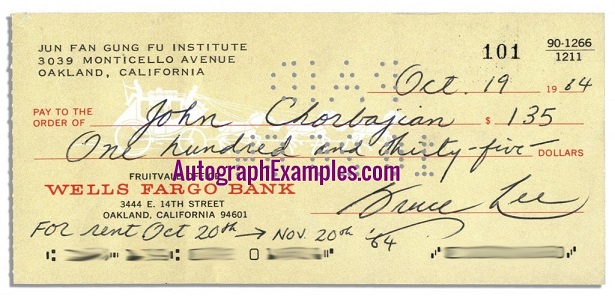 1964 Bruce Lee autograph cheque