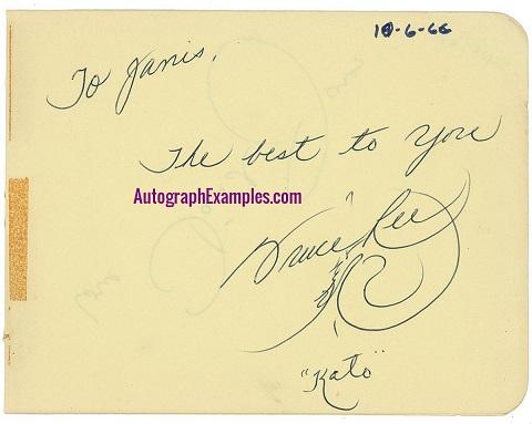 1966 Bruce Lee autograph