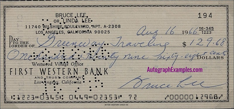 1966 Bruce Lee autograph cheque 1