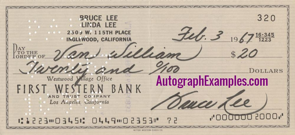 1967 Bruce Lee autograph cheque