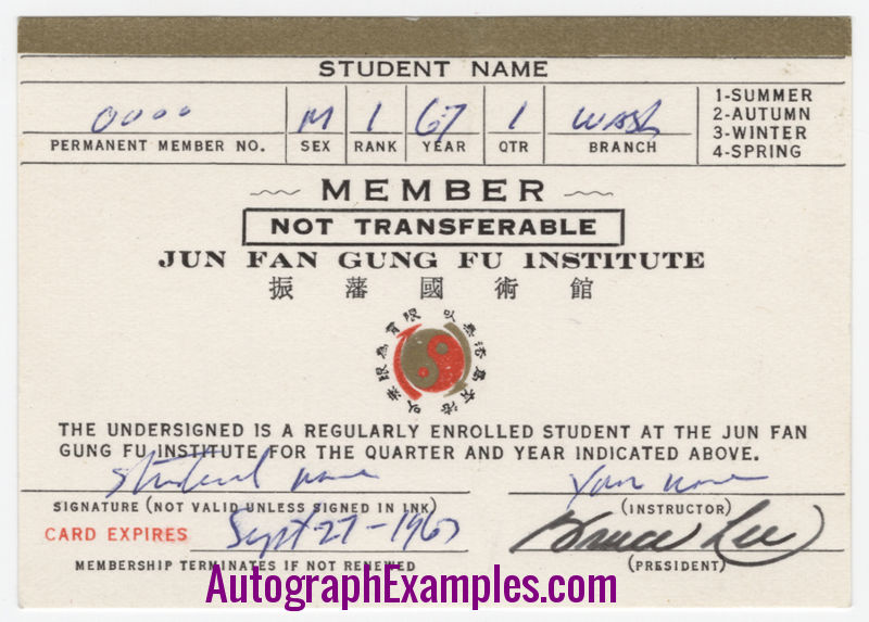 1967 membership card Bruce Lee autograph