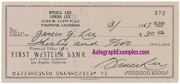 1968 Bruce Lee autograph cheque