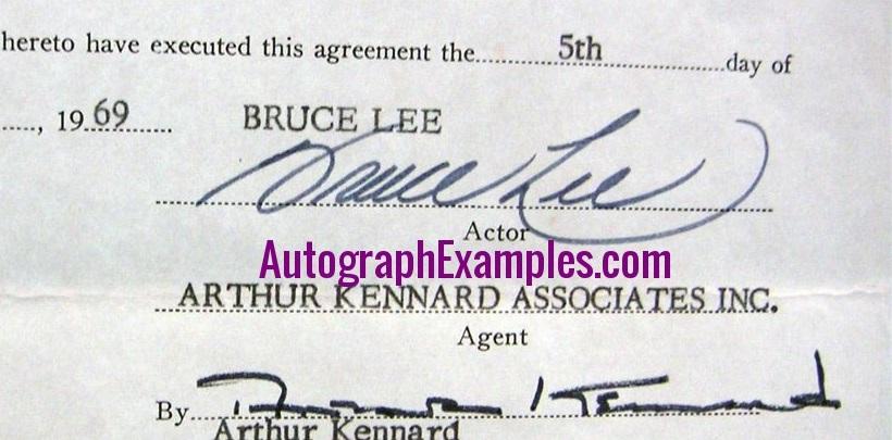 1969 Bruce Lee autograph