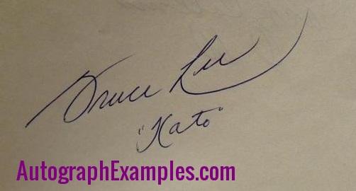 Bruce Lee autograph Kato