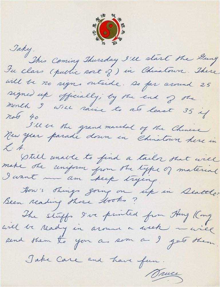 Bruce Lee autograph handwritten letter 1