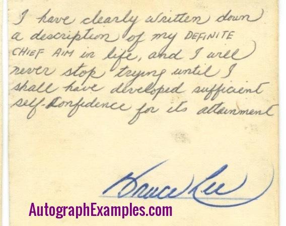 Bruce Lee autograph note