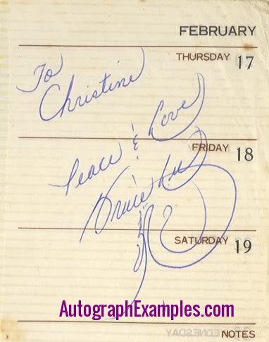 Bruce Lee autograph to Christine