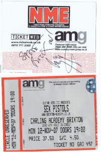 Jimmy Page autograph sex pistols ticket
