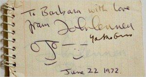 john lennon autograph 1972