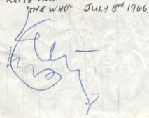 keith moon autograph 1966