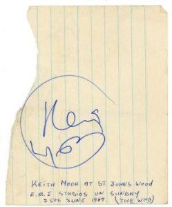 keith moon autograph 1967