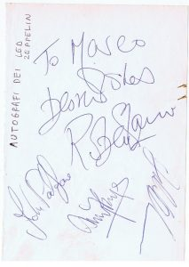 led zeppelin autographs 1970