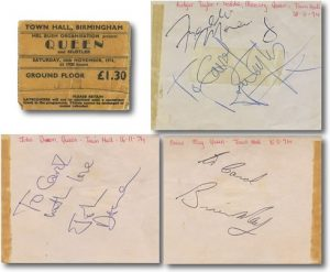 queen autographs 1974