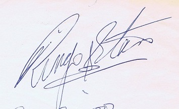 ringo starr autograph 1984