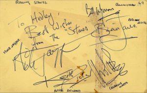 rolling stones autograph 1960s