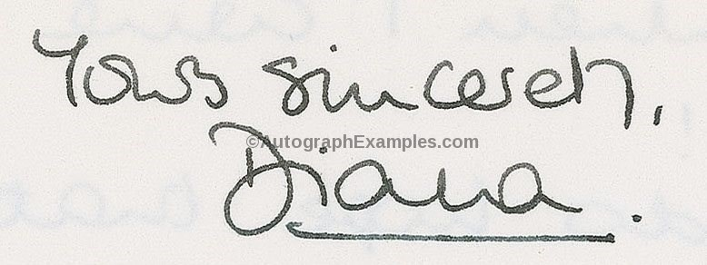 princess diana autograph royalty