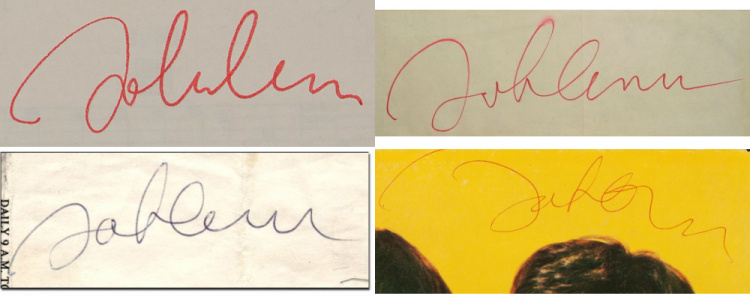 John Lennon autographs from May 1975 Helping Hand marathon